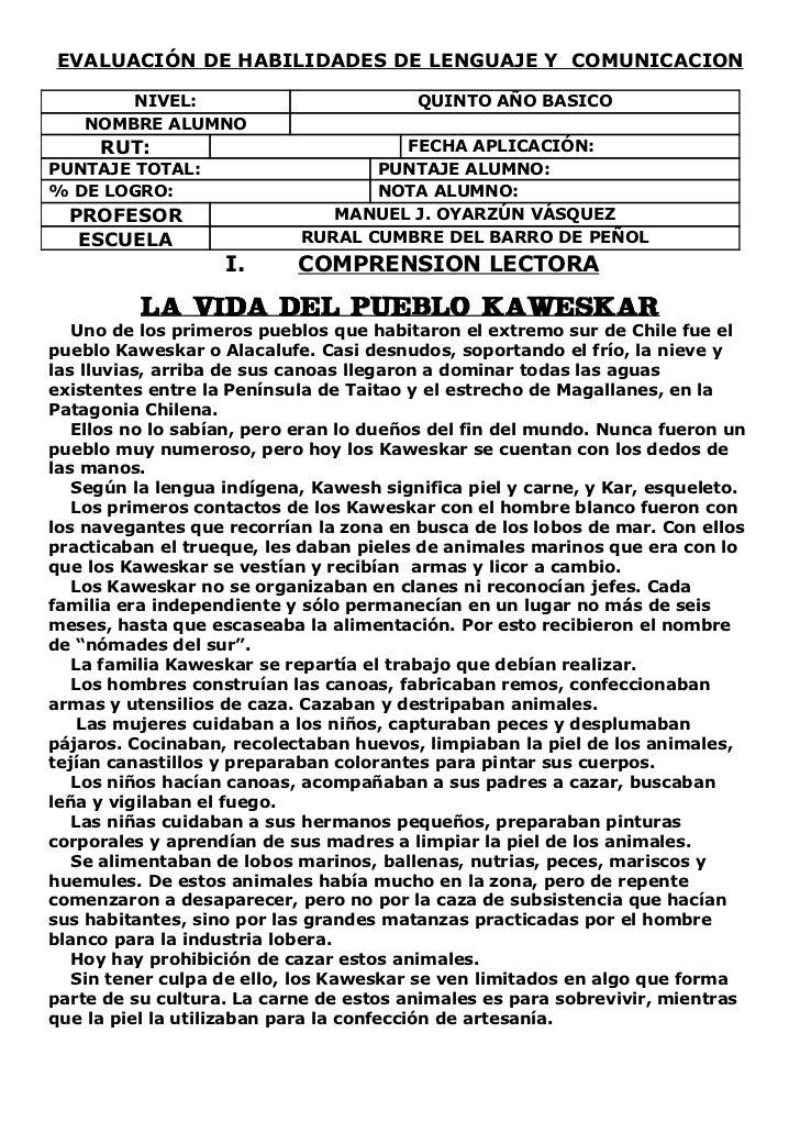 EVALUACIÓN DE HABILIDADES DE LENGUAJE Y COMUNICACION       NIVEL:                           QUINTO AÑO BASICO   NOMBRE ALU...
