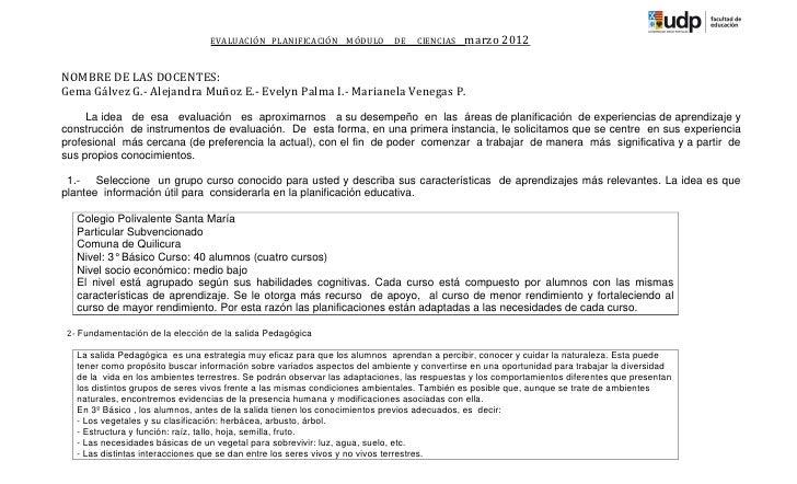 EVALUACIÓN PLANIFICACIÓN MÓDULO           DE   CIENCIAS    marzo 2012NOMBRE DE LAS DOCENTES:Gema Gálvez G.- Alejandra Muño...