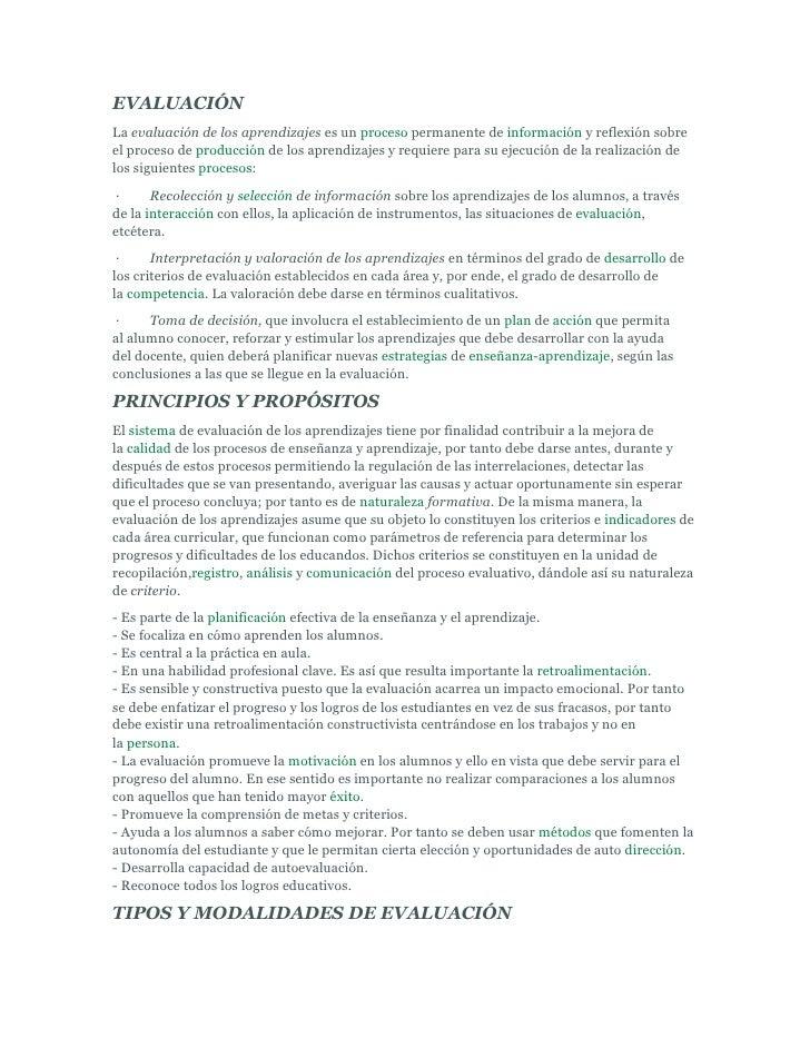 EVALUACIÓNLa evaluación de los aprendizajes es un proceso permanente de información y reflexión sobreel proceso de producc...