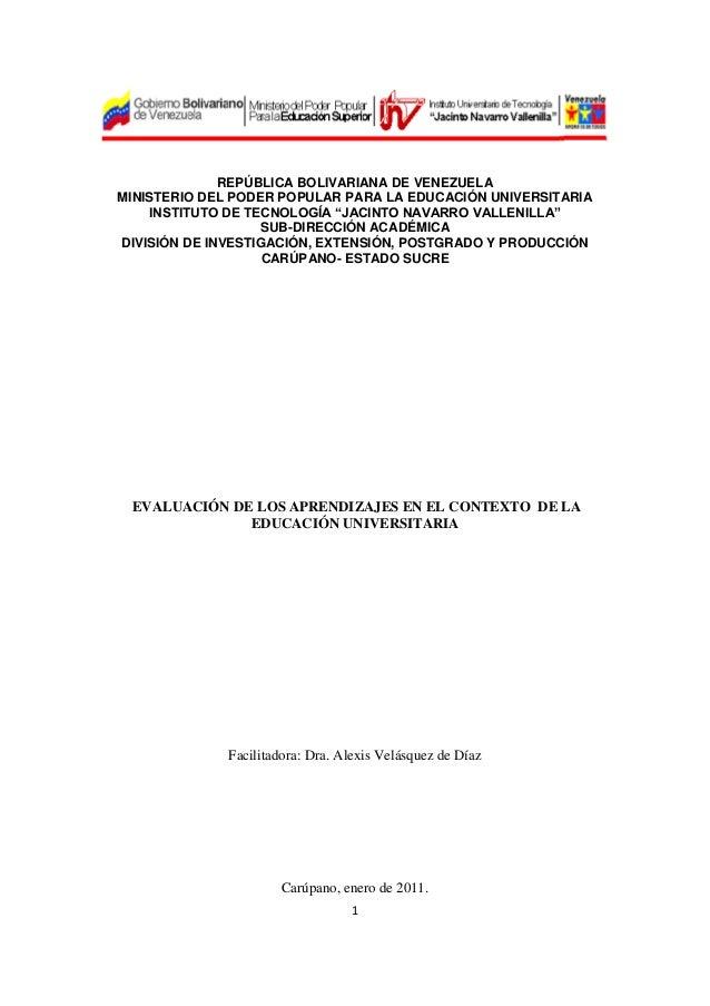 1 REPÚBLICA BOLIVARIANA DE VENEZUELA MINISTERIO DEL PODER POPULAR PARA LA EDUCACIÓN UNIVERSITARIA INSTITUTO DE TECNOLOGÍA ...