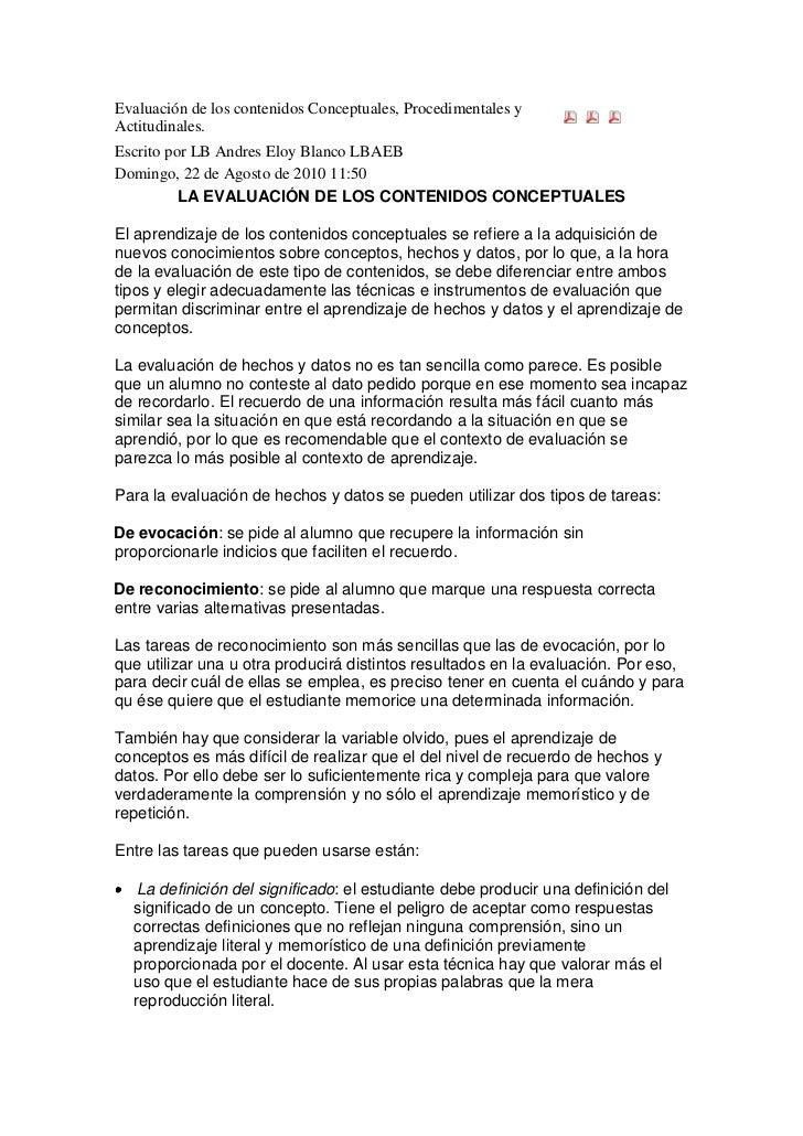 Evaluación de los contenidos Conceptuales, Procedimentales y Actitudinales. <br />Escrito por LB Andres Eloy Blanco LBAEB ...