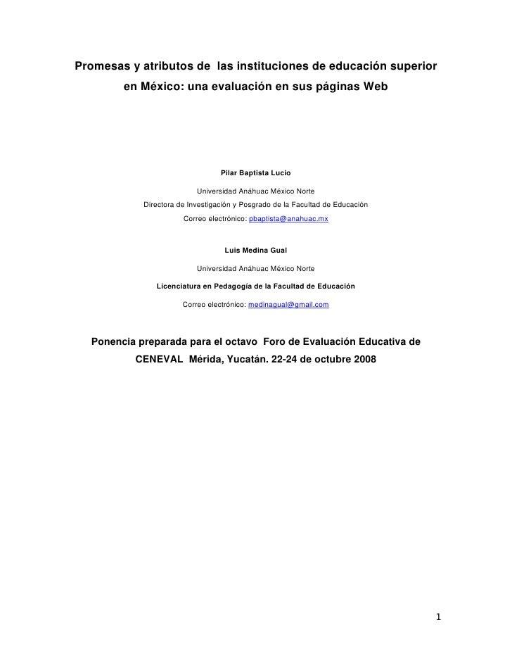 Promesas y atributos de las instituciones de educación superior         en México: una evaluación en sus páginas Web      ...