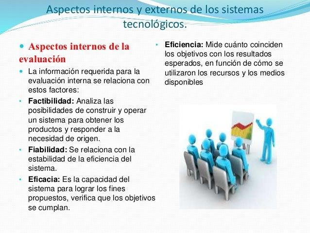 Aspectos internos y externos de los sistemas tecnológicos.  Aspectos internos de la evaluación  La información requerida...
