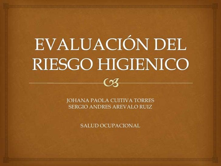 JOHANA PAOLA CUITIVA TORRES SERGIO ANDRES AREVALO RUIZ    SALUD OCUPACIONAL