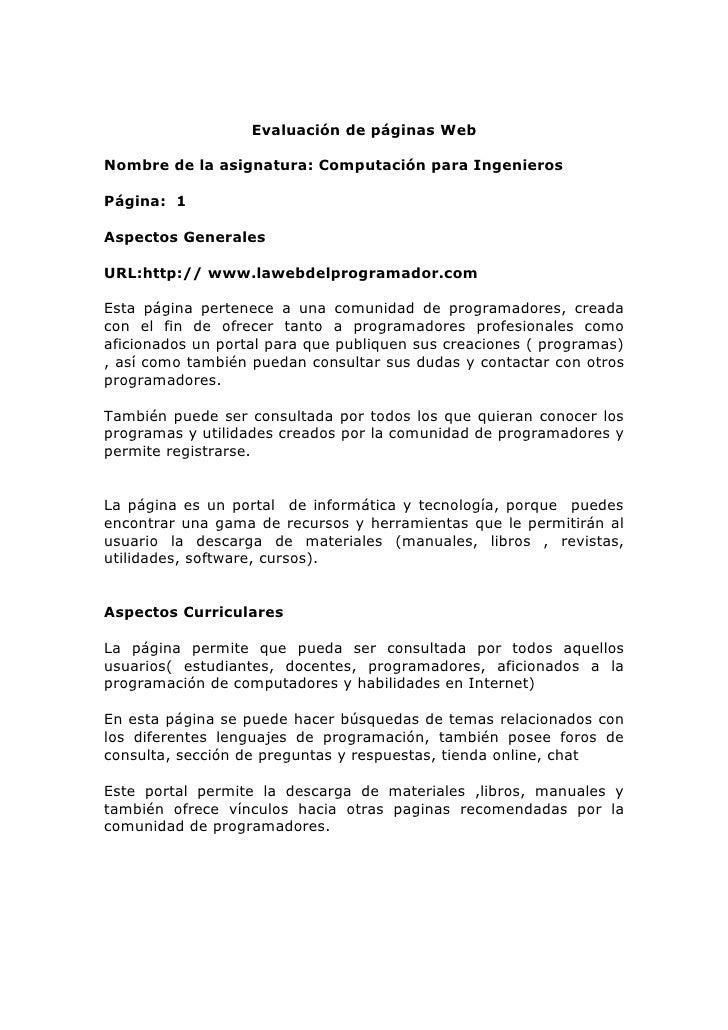 Evaluación de páginas Web  Nombre de la asignatura: Computación para Ingenieros  Página: 1  Aspectos Generales  URL:http:/...