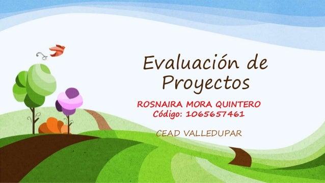 Evaluación de  Proyectos  ROSNAIRA MORA QUINTERO  Código: 1065657461  CEAD VALLEDUPAR