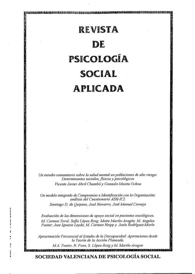 ¡ • RJE.VISTA DI PSICOLOGÍA SOCIAL APLICADA Un estudio comunitario sobre la salud mental en poblaciones de alto riesgo: De...
