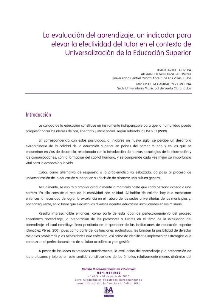 La evaluación del aprendizaje, un indicador para               elevar la efectividad del tutor en el contexto de          ...