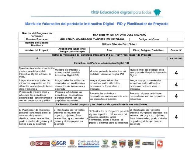 Matriz de Valoración del portafolio Interactivo Digital —PID y Planificador de Proyecto  tit@ Educación digital muy':  rom...
