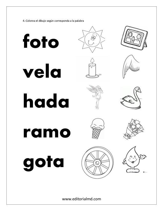 www.editorialmd.com 4.-Colorea el dibujo según corresponda a la palabra foto vela hada ramo gota
