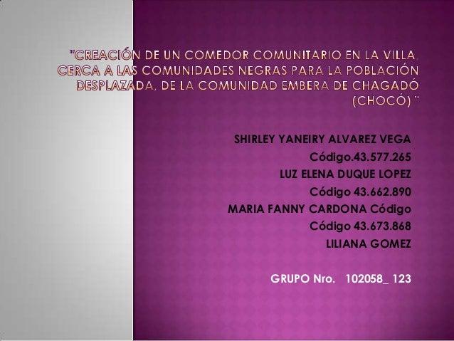 SHIRLEY YANEIRY ALVAREZ VEGA            Código.43.577.265       LUZ ELENA DUQUE LOPEZ            Código 43.662.890MARIA FA...
