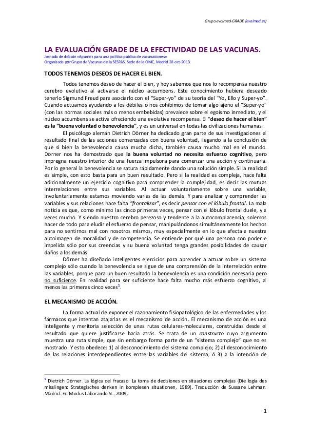 Grupoevalmed‐GRADE(evalmed.es)      LAEVALUACIÓNGRADEDELAEFECTIVIDADDELASVACUNAS. Jornadadedebate«Apunte...