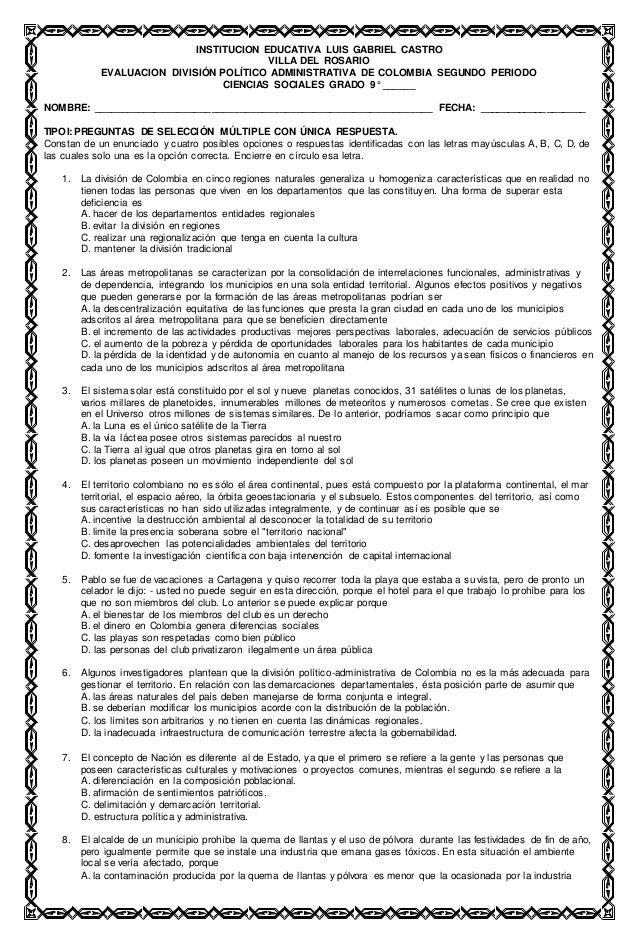 INSTITUCION EDUCATIVA LUIS GABRIEL CASTRO VILLA DEL ROSARIO EVALUACION DIVISIÓN POLÍTICO ADMINISTRATIVA DE COLOMBIA SEGUND...