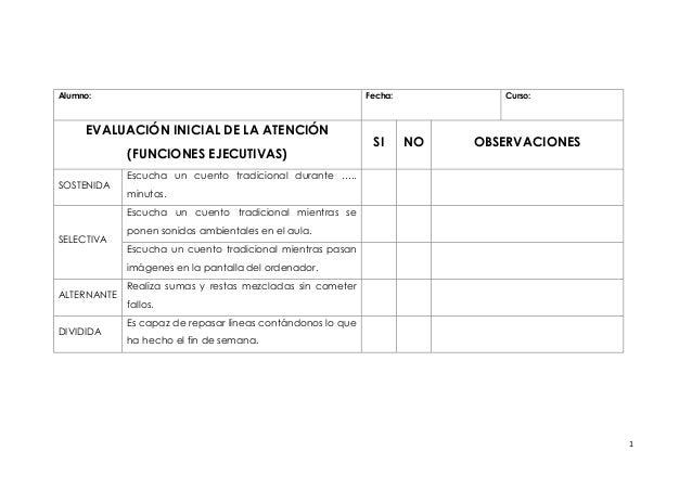 1 Alumno: Fecha: Curso: EVALUACIÓN INICIAL DE LA ATENCIÓN (FUNCIONES EJECUTIVAS) SI NO OBSERVACIONES SOSTENIDA Escucha un ...