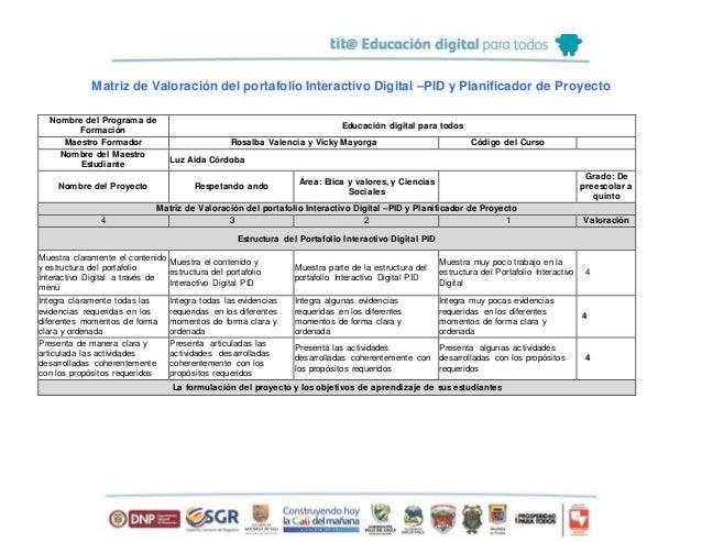 Matriz de Valoración del portafolio Interactivo Digital –PID y Planificador de Proyecto Nombre del Programa de Formación E...