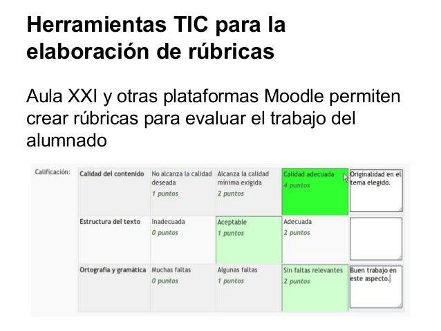 Herramientas TIC para la elaboración de rúbricas Aula XXI y otras plataformas Moodle permiten crear rúbricas para evaluar ...