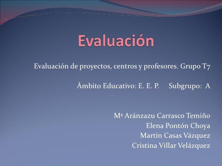 Evaluación de proyectos, centros y profesores. Grupo T7 Ámbito Educativo: E. E. P.  Subgrupo:  A Mª Aránzazu Carrasco Temi...