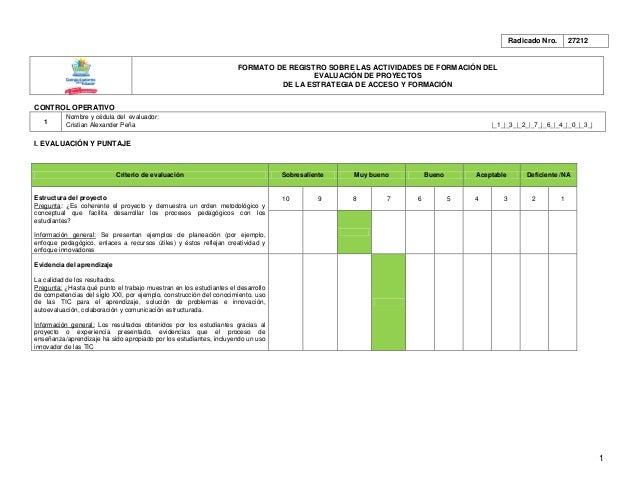Radicado Nro.       27212                                                                     FORMATO DE REGISTRO SOBRE LA...