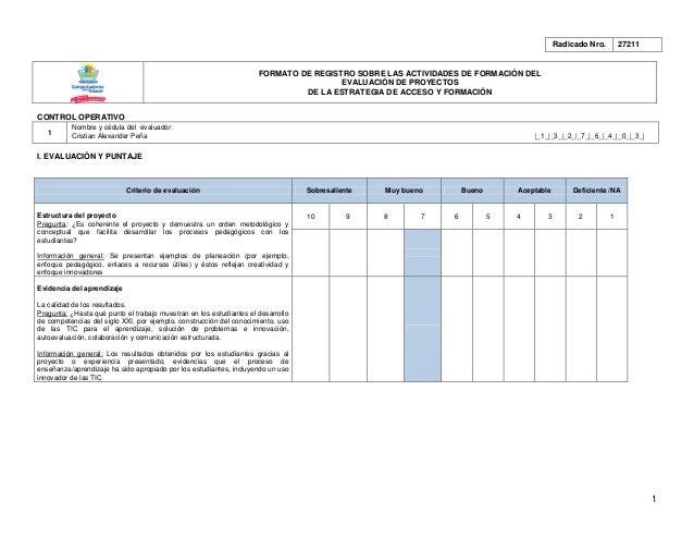 Radicado Nro.       27211                                                                     FORMATO DE REGISTRO SOBRE LA...