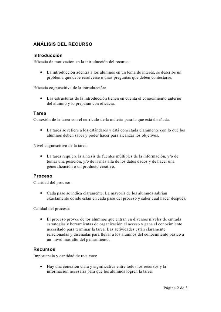 ANÁLISIS DEL RECURSO  Introducción Eficacia de motivación en la introducción del recurso:     •    La introducción adentra...