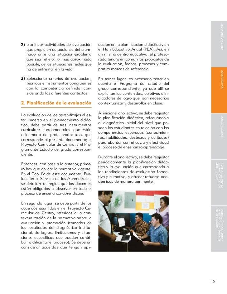 ¿para qué evaluar?2) planificar actividades de evaluación      cación en la planificación didáctica y en   que propicien act...