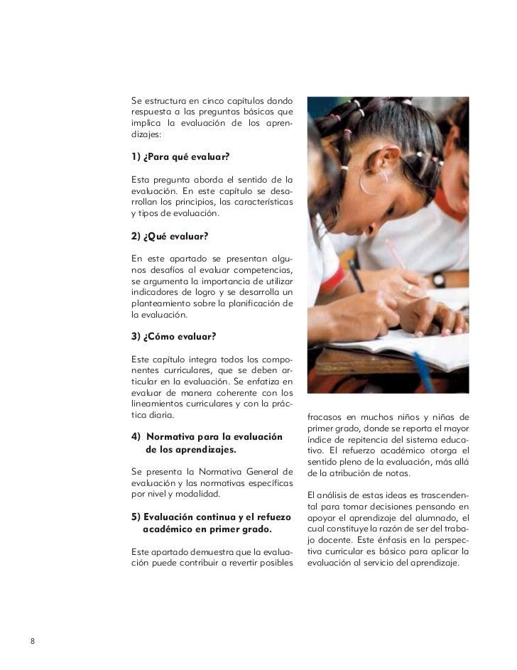 Se estructura en cinco capítulos dando    respuesta a las preguntas básicas que    implica la evaluación de los apren-    ...