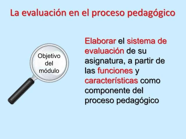 La evaluación en el proceso pedagógico                 Elaborar el sistema de                 evaluación de su      Objeti...