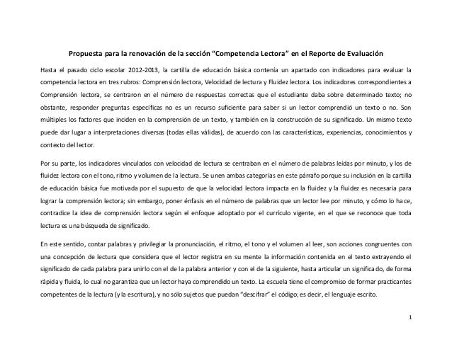 """Propuesta para la renovación de la sección """"Competencia Lectora"""" en el Reporte de Evaluación Hasta el pasado ciclo escolar..."""