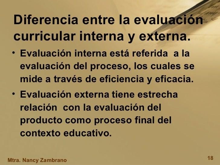 Diferencia entre la evaluación curricular interna y externa. <ul><li>Evaluación interna está referida  a la evaluación del...