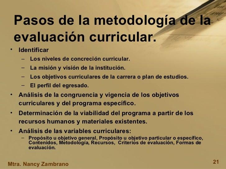 Pasos de la metodología de la evaluación curricular. <ul><li>Identificar </li></ul><ul><ul><li>Los niveles de concreción c...