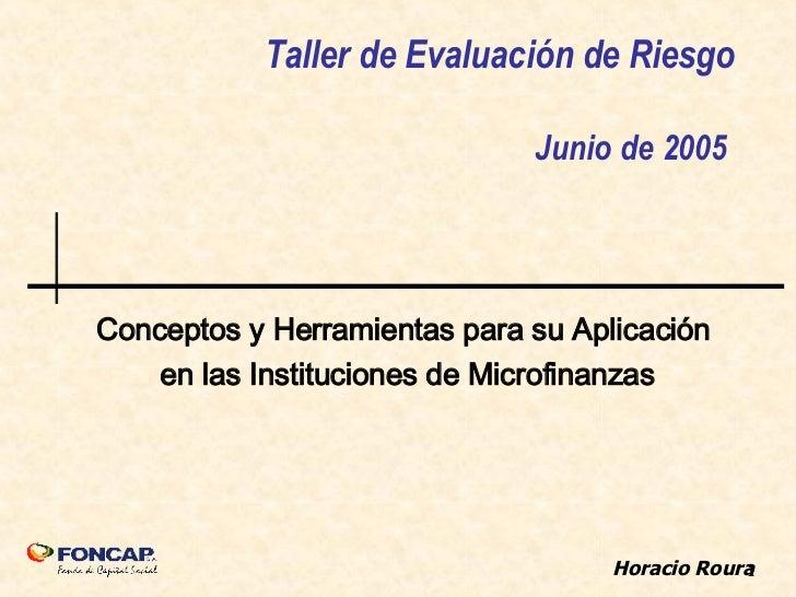 Taller de Evaluación de Riesgo Junio de 2005  Conceptos y Herramientas para su Aplicación  en las Instituciones de Microfi...