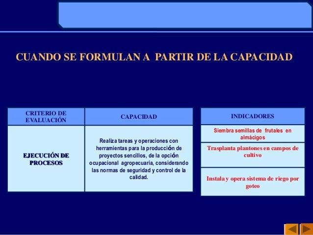 CUANDO SE FORMULAN A PARTIR DE LA CAPACIDADCRITERIO DEEVALUACIÓNCAPACIDADEJECUCIÓN DEPROCESOSRealiza tareas y operaciones ...