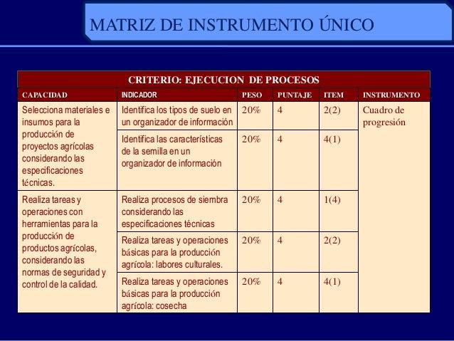 MATRIZ DE INSTRUMENTO ÚNICOCRITERIO: EJECUCION DE PROCESOSCAPACIDAD INDICADOR PESO PUNTAJE ITEM INSTRUMENTOSelecciona mate...