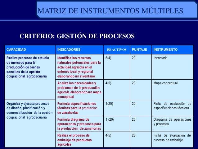 CRITERIO: GESTIÓN DE PROCESOSCAPACIDAD INDICADORES REACTIVOS PUNTAJE INSTRUMENTORealiza procesos de estudiode mercado para...