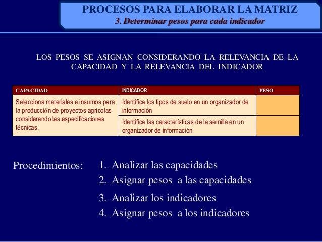 PROCESOS PARA ELABORAR LA MATRIZ3. Determinar pesos para cada indicadorLOS PESOS SE ASIGNAN CONSIDERANDO LA RELEVANCIA DE ...