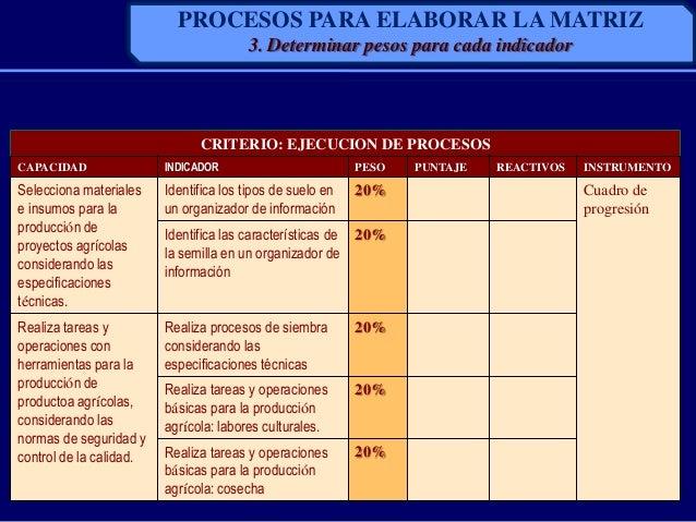 CRITERIO: EJECUCION DE PROCESOSCAPACIDAD INDICADOR PESO PUNTAJE REACTIVOS INSTRUMENTOSelecciona materialese insumos para l...