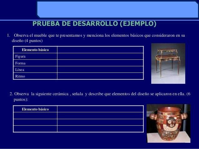 PRUEBA DE DESARROLLO (EJEMPLO)1. Observa el mueble que te presentamos y menciona los elementos básicos que consideraron en...