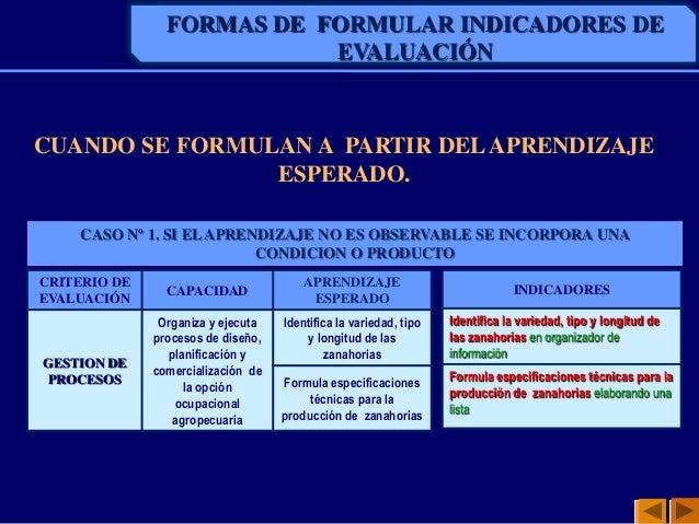 FORMAS DE FORMULAR INDICADORES DEEVALUACIÓNCUANDO SE FORMULAN A PARTIR DELAPRENDIZAJEESPERADO.CRITERIO DEEVALUACIÓNCAPACID...