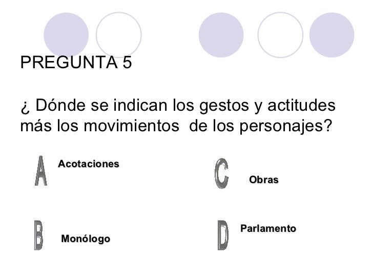 PREGUNTA 5 ¿  Dónde se indican los gestos y actitudes más los movimientos  de los personajes? Acotaciones Monólogo Parlame...
