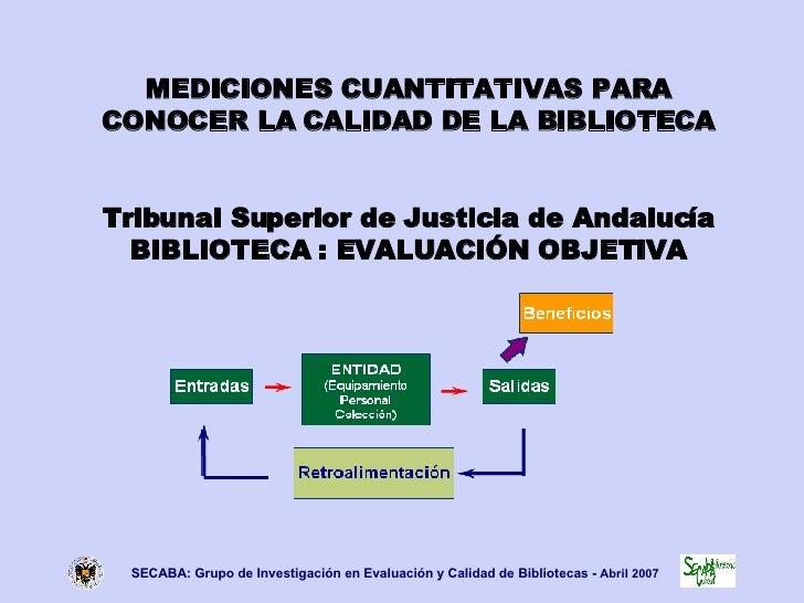 MEDICIONES CUANTITATIVAS PARA CONOCER LA CALIDAD DE LA BIBLIOTECA Tribunal Superior de Justicia de Andalucía BIBLIOTECA : ...