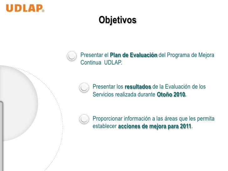 ObjetivosPresentar el Plan de Evaluación del Programa de MejoraContinua UDLAP.    Presentar los resultados de la Evaluació...