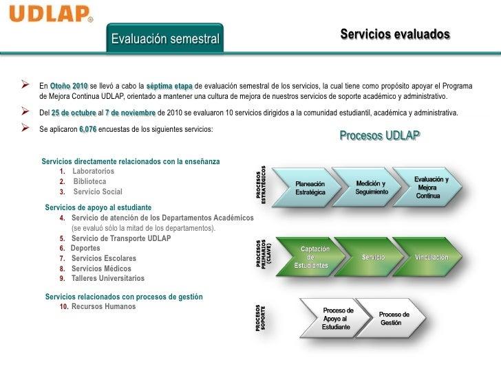 Evaluación semestral                                                     Servicios evaluados   En Otoño 2010 se llevó a c...
