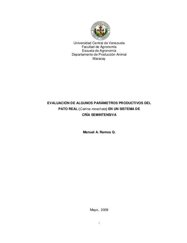 iUniversidad Central de VenezuelaFacultad de AgronomíaEscuela de AgronomíaDepartamento de Producción AnimalMaracayEVALUACI...