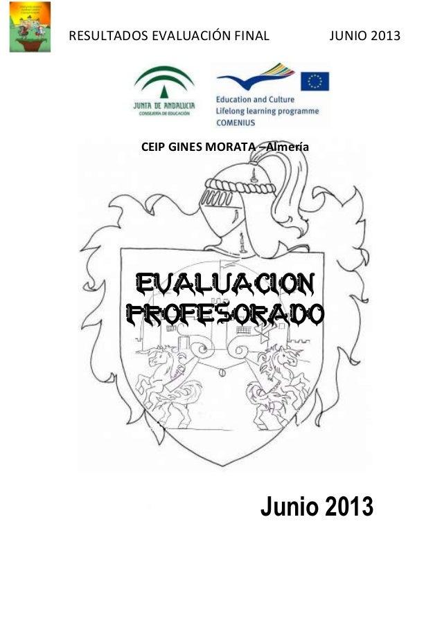 RESULTADOS EVALUACIÓN FINAL JUNIO 2013 CEIP GINES MORATA –Almería EVALUACION PROFESORADO Junio 2013