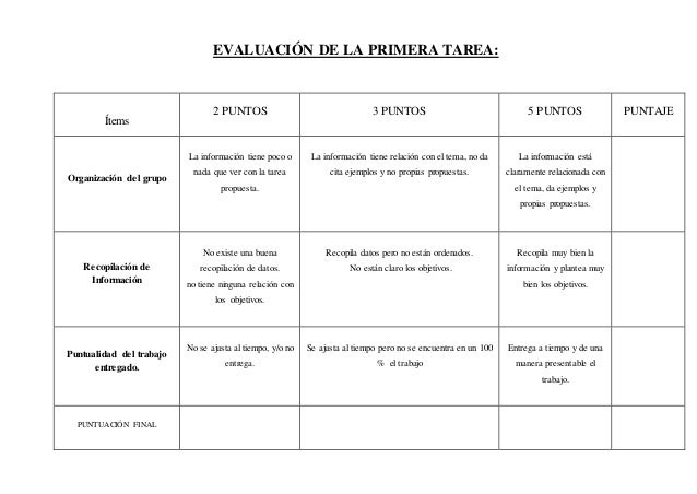 EVALUACIÓN DE LA PRIMERA TAREA: Ítems 2 PUNTOS 3 PUNTOS 5 PUNTOS PUNTAJE Organización del grupo La información tiene poco ...