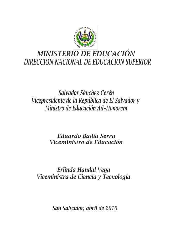 """PRESENTACIÓN""""El Sistema de Supervisión y Mejoramiento de la Calidad de la Educación Superior tiene comoobjetivo impulsar l..."""