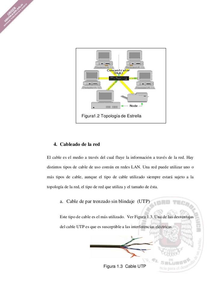 Figura1.2 Topología de Estrella   4. Cableado de la redEl cable es el medio a través del cual fluye la información a travé...