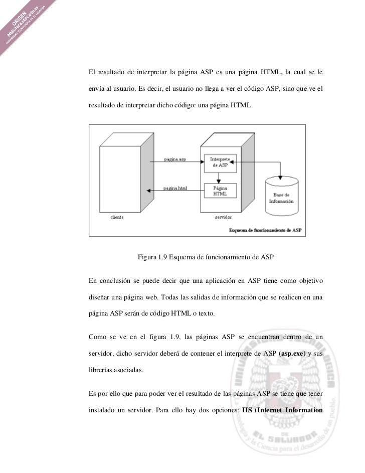 El resultado de interpretar la página ASP es una página HTML, la cual se leenvía al usuario. Es decir, el usuario no llega...