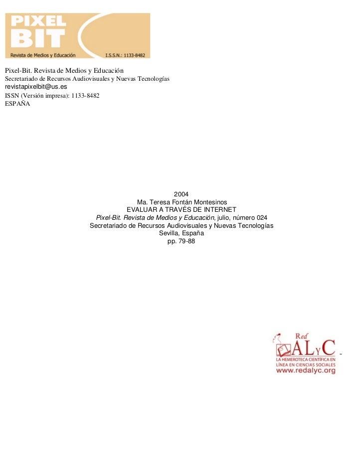 Pixel-Bit. Revista de Medios y EducaciónSecretariado de Recursos Audiovisuales y Nuevas Tecnologíasrevistapixelbit@us.esIS...