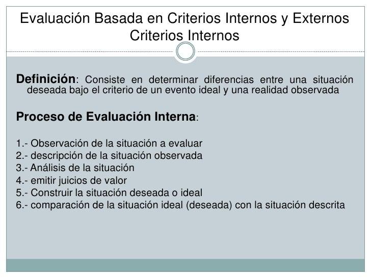 Evaluacio N Basada En Criterios Internos Y Externos